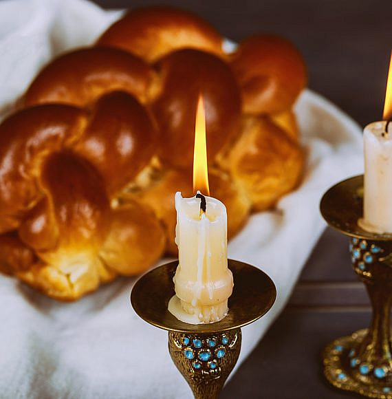 Traditional Jewish Homemade freshly baked challah for the Holy Sabbath ritual
