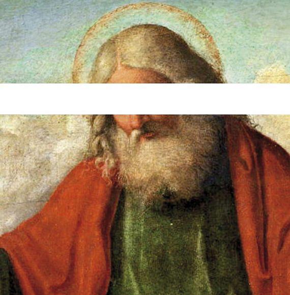 """Edited version of """"God the Father,"""" by Cima da Conegliano courtesy Haaretz"""