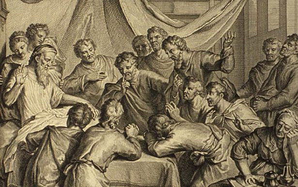 Jacob Blesses His Sons (illustration from the 1728 Figures de la Bible), wikimedia
