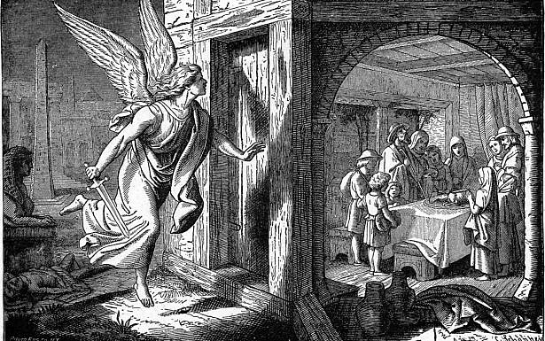 מלאך המוות מציץ בבני ישראל בעת אכילת הפסח הראשון. תמונה: ויקיפדיה