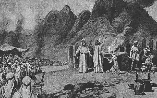 איור המתאר את כריתת הברית, ויקיפדיה.