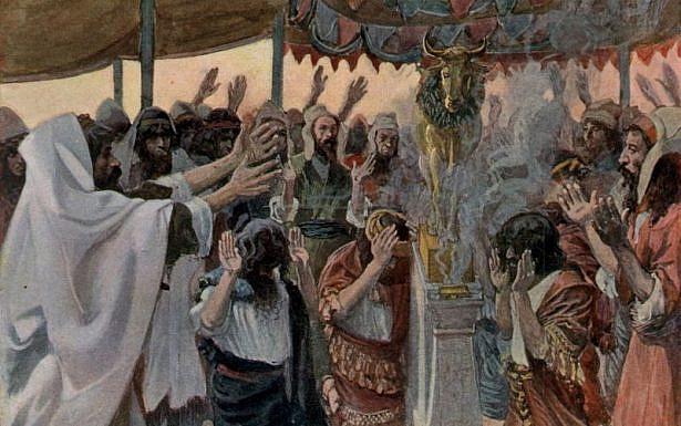 בני ישראל סוגדים לעגל הזהב, ציור: James Joseph Jacques Tissot, ויקיפדיה
