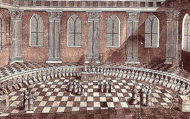 חכמי הסנהדרין יישובים בלשכת הגזית, מתוך מודל בית המקדש הראשון מהמאה ה-17, ויקיפדיה