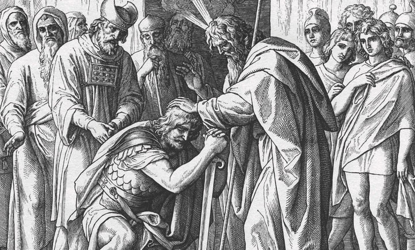 משה ממנה את יהושע.   illustration from Henry Davenport Northrop's 1894 Treasures of the Bible, מתוך ויקיפדיה