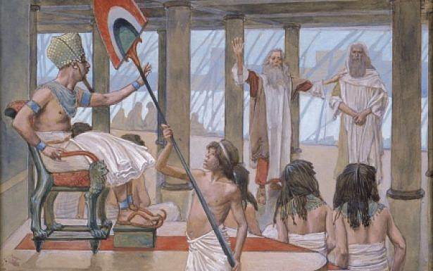 Moses Speaks to Pharaoh (watercolor circa 1896–1902 by James Tissot), wikimedia
