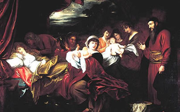 Esau and Jacob Presented to Isaac- painting by Benjamin West. צילום ויקיפדיה