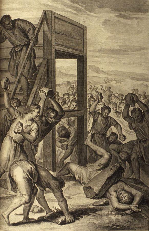 """The Blasphemer Stoned, as in Leviticus 24:13-23, published 1728, in """"Figures de la Bible"""", P. de Hondt"""