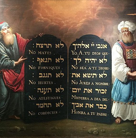 Moses and Aaron with the 10 Commandments