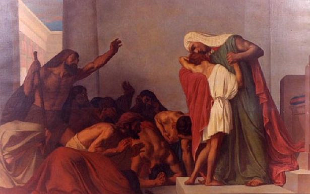 Joseph Recognized by His Brothers (1863 painting by Léon Pierre Urbain Bourgeois), wikimedia.