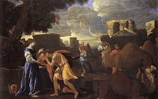 רבקה מרווה את צמאונו של עבד אברהם (ניקולא פוסן, 1626), ויקיפדיה.