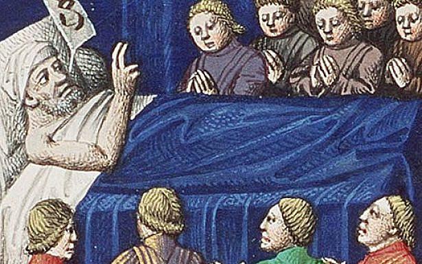 Jacob Blessing His Sons (miniature circa 1475–1480 by François Maitre from Augustine's La Cité de Dieu), wikipedia.