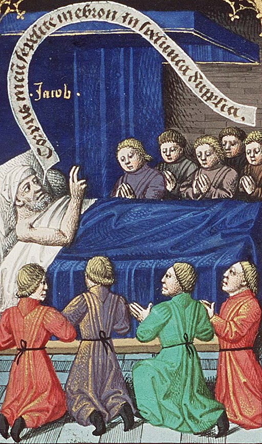 Jacob Blessing His Sons (miniature circa 1475–1480 by François Maitre from Augustine's La Cité de Dieu), wikipedia.