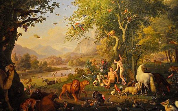 אדם וחוה בגן עדן. ציור של ונזל פטר המוצג במוזיאון הותיקן. באדיבות faungg's photos