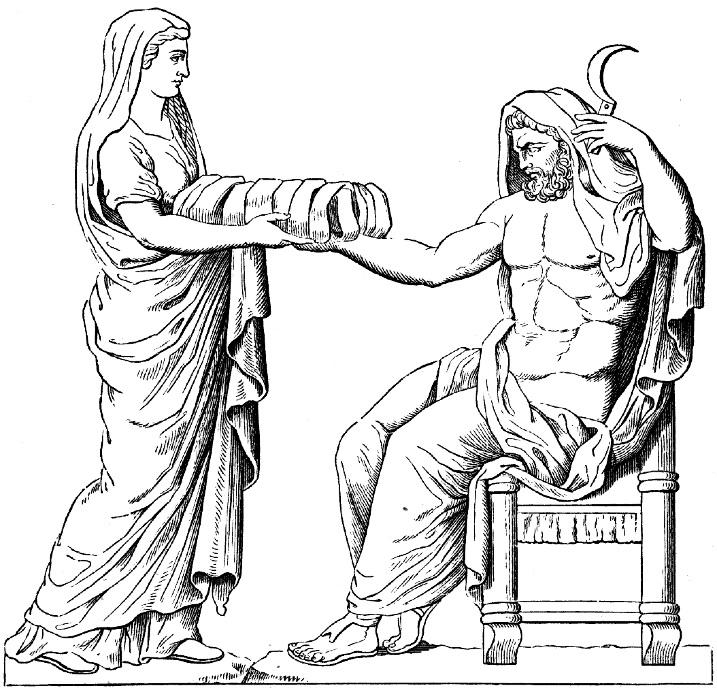 האלה ריאה מגישה לבעלה, הטיטאן קרונוס, אבן עטופה בבד