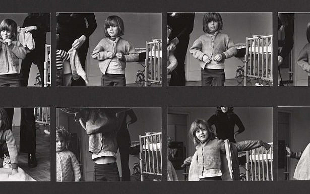 Mierle Laderman Ukeles Dressing to Go Out/Undressing to Go In (detail), 1973 black and white photos mounted on foam core with chain and dust rag 55 x 42 1/4 inches Photo: Jeffrey Sturges Courtesy Ronald Feldman Fine Arts, New York