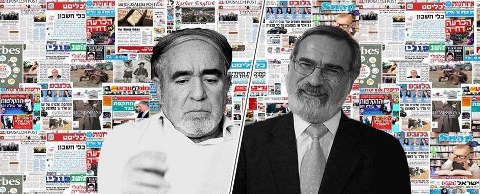 הרב יונתן זקס לצד נתן זך על רקע עיתונים, צילום נתן זך: מוטי קיקיון, ויקיפדיה.