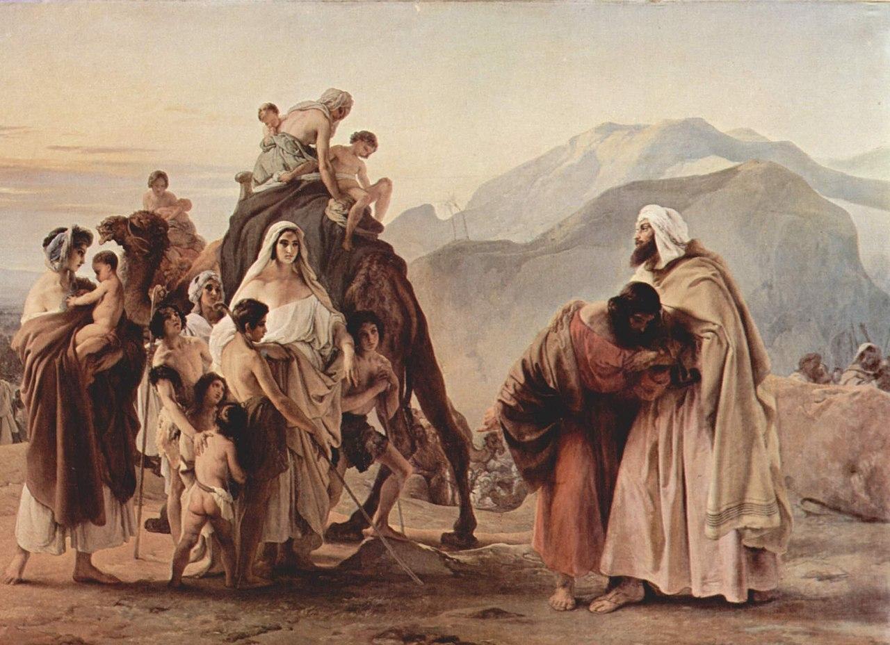 המפגש של יעקב ועשו, מאת פרנצ'סקו אייץ, 1844.