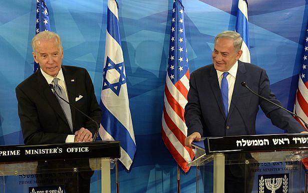 """נתניהו במפגש עם ביידן, 2016 (צילום: שגרירות ארה""""ב)"""