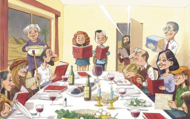 משפחה יושבת לצד שולחן הסר, איור: מישל קישקה מתוך הספר A night to Remember של נועם ומישאל ציון