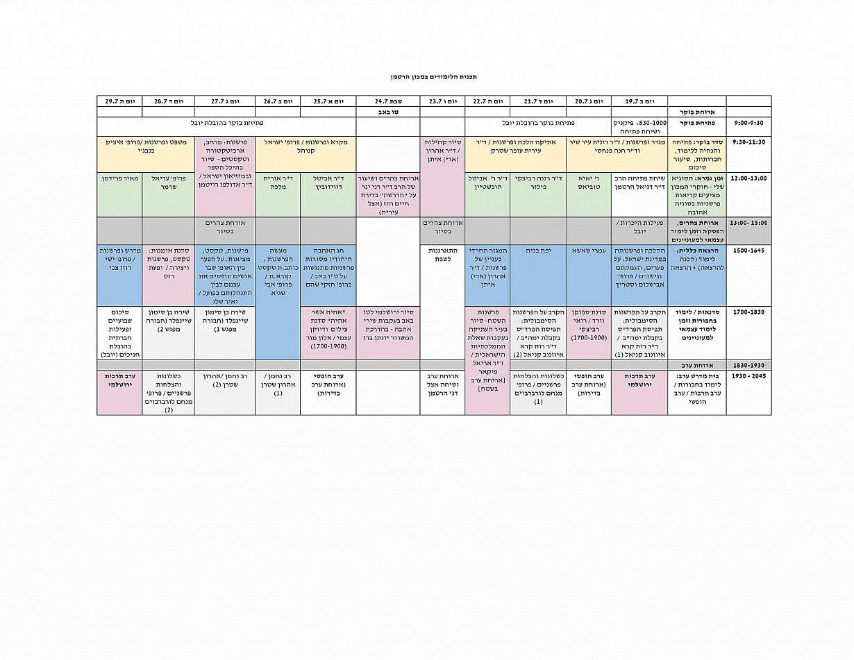 תוכנית לימודים במכון הרטמן