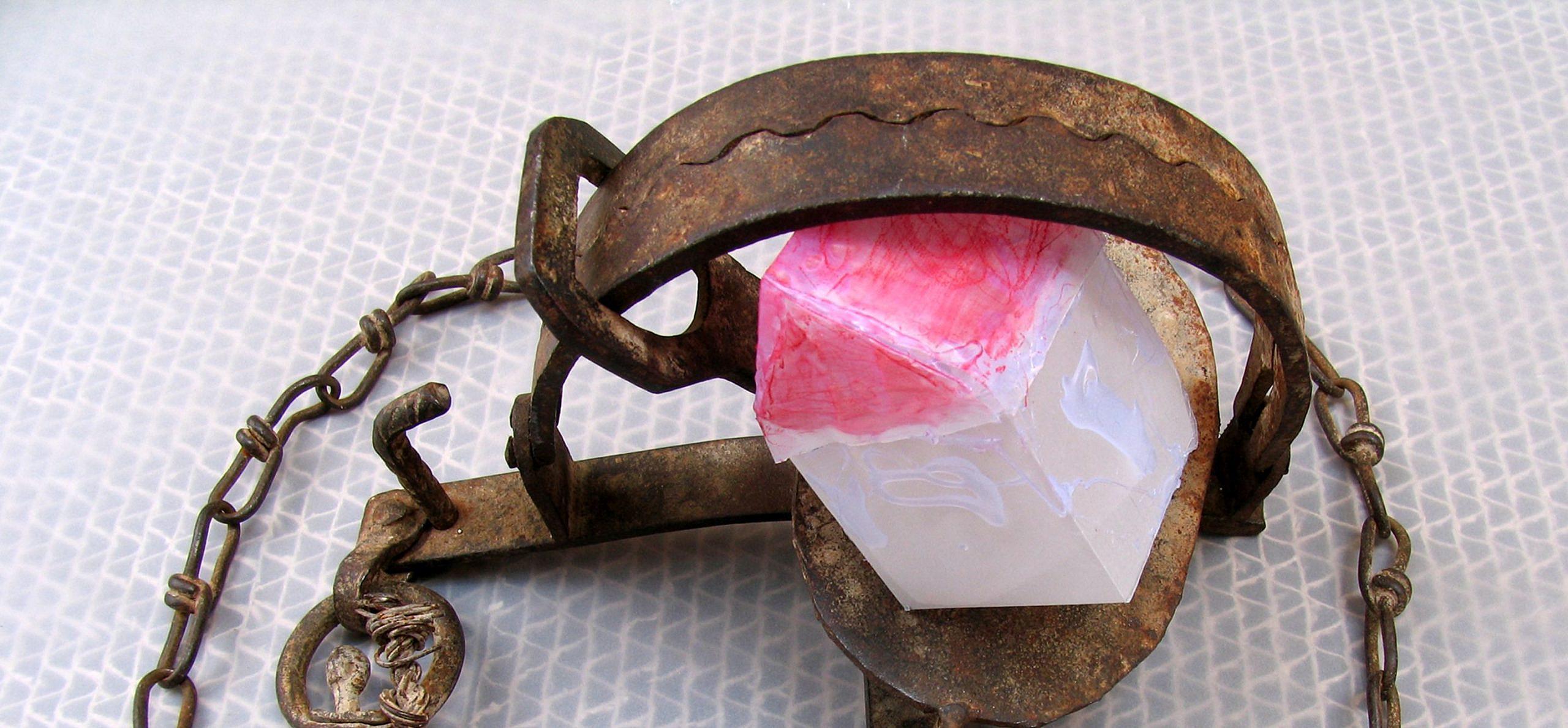 נחמה גולן, בית במלכודת, 2005. נייר ומלכודת מן המוכן, מתכת