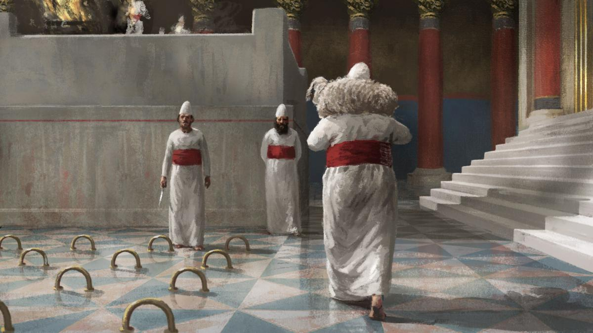 """הכהנים בבית המקדש (צילום מתוך הסרט """"אגדת חורבן"""")"""