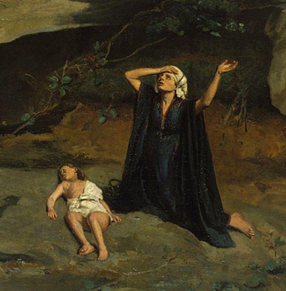 הגר במדבר. ציור מאת קמיל קורוט (1835)